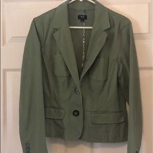 Army green blazer.